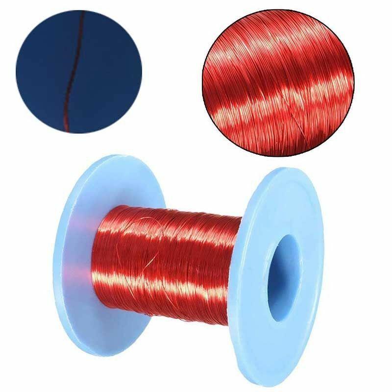 100 м красный Магнитный провод 0,2 мм, эмалированная медная проволока, круглая магнитная обмотка катушки