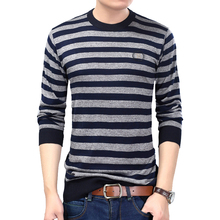 Mens Pullover Basic Sweater O-neck Fashion Striped Cable Knit Autumn Winter Men Slim Fit Male Stripes