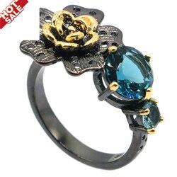 26x15 мм Неоготические созданные лондонские синие топазы Париж, голубой топаз для сестры крутые черные металлические серебряные кольца привл...