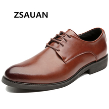 ZSAUAN Classic Men Derby Leather Shoes Black Brown Lace-up Office Work Salesman Daily Boss Business Dress