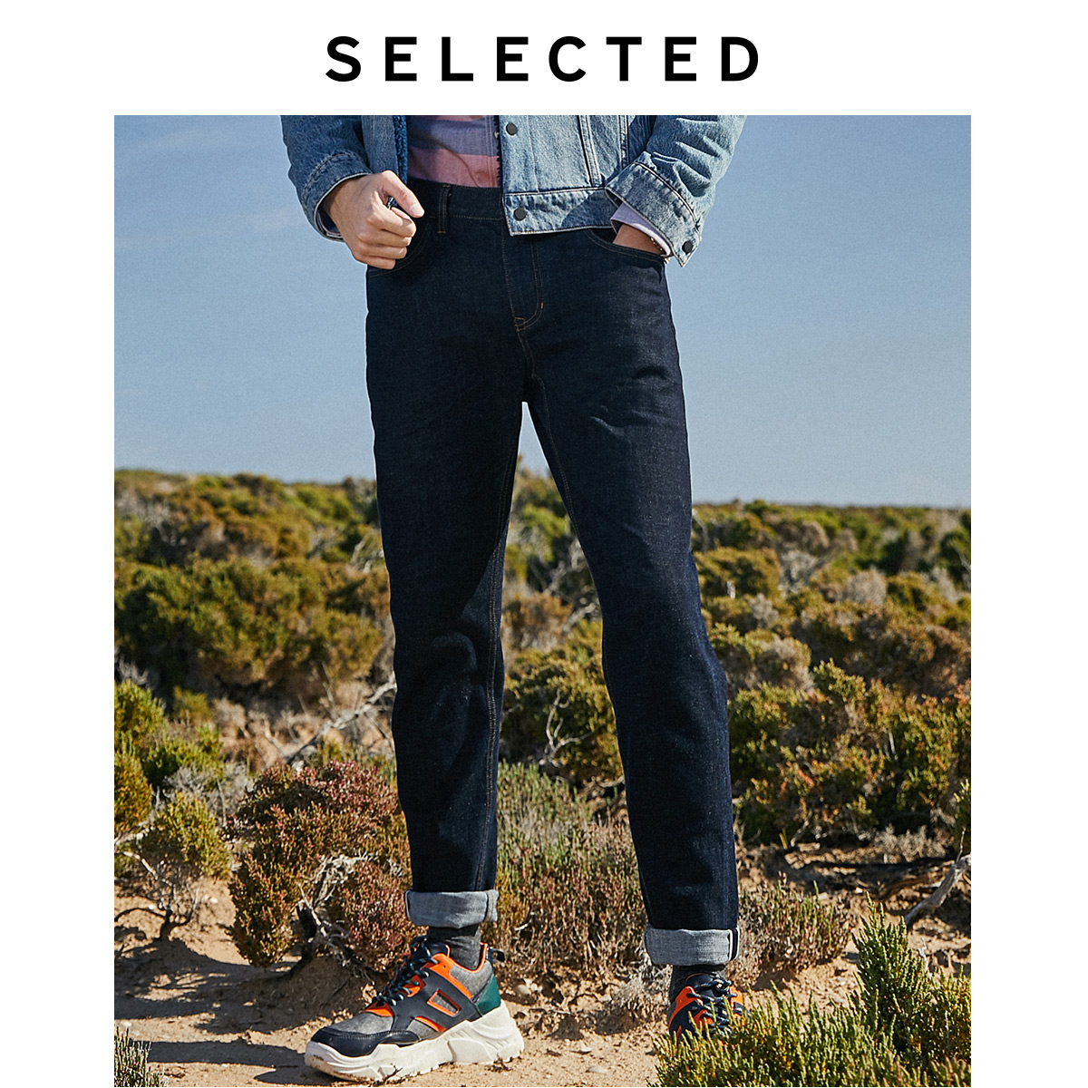 SELECTED Men's Winter Spliced Roll-up Tapered Jeans L|419432525