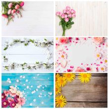 Pink Flowers Wooden Board Photography Backdrops Vinyl Cloth Background for Children Lovers Valentines Day Wedding Photoshoot
