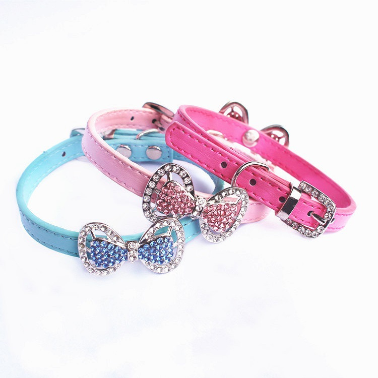Pet Supplies Europe And America Hot Selling Man-made Diamond Dog Neck Ring Beautiful Colorful Crystals Bow Neck Ring Bite-proof