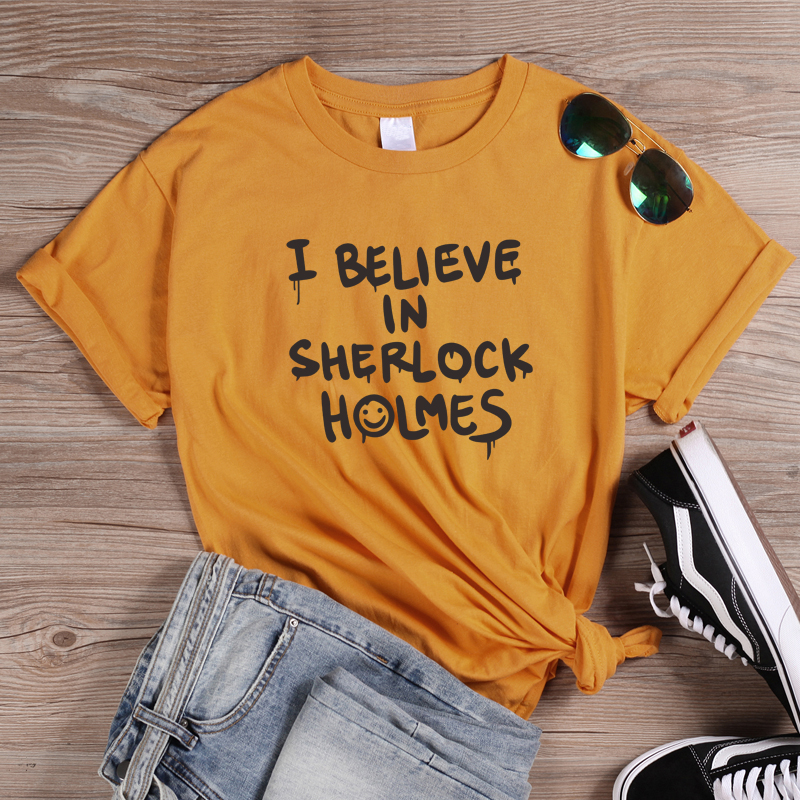 ONSEME Punk Style Letters Printed T Shirts I Believe In Sherlock Holmes Letter T Shirt Female Harajuku Tees Halloween Tops