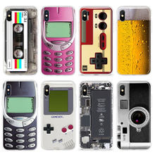 Grappige Zachte Tpu Telefoon Case Voor Iphone X Xs Max Xr 11 Pro 7 8 Plus 6 6S 5 5S Se Bier Drankjes Gameboy Gebroken Screen Silicone Cover(China)