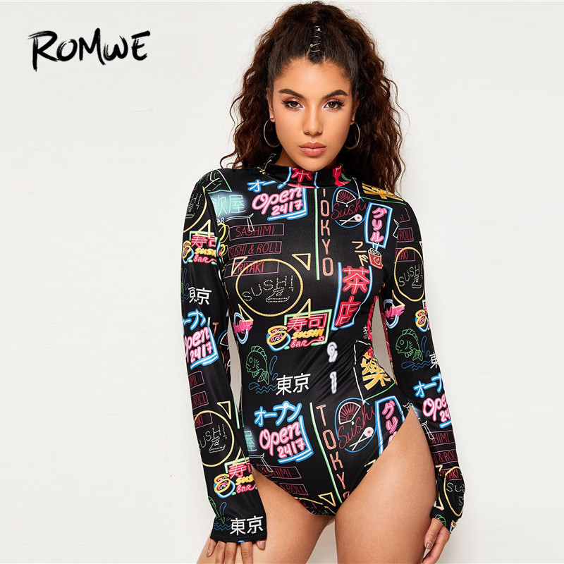 ROMWE Mock Neck Letter Print Bodysuit For Women Long Sleeve Bodysuit Spring Streetwear Bodycon Black Bodysuit Jumpsuit Body Suit