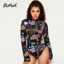ROMWE Mock Neck Letter Print Bodysuit For Women Long Sleeve Bodysuit
