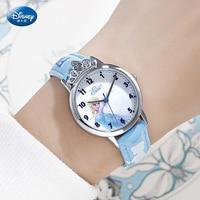 Disney congelé prix Quartz fille montre bracelet 3Bar étanche Simple mode ronde bracelet en cuir enfants montre boucle diamant|Montres enfant| |  -