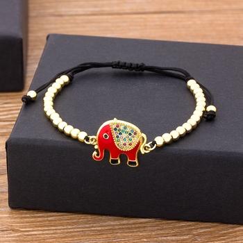 Handmade Elephant bransoletka regulowana wysokiej jakości miedź cyrkonia biżuteria z koralików prezent dla kobiet ślub prezent na boże narodzenie tanie i dobre opinie NIDIN Charm bransoletki Kobiety Miedzi CN (pochodzenie) Moda Klasyczny Link łańcucha women necklace Zwierząt bracelet