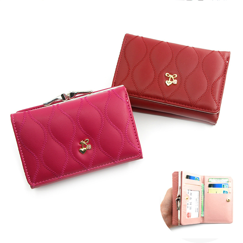 Mini Leather Wallet Women Lady Short Coin Pouch Women's Purse New Cute Cherry Small Change Wallets Coin Bag 3 Fold Coin Purse