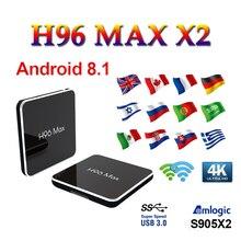 TV Box brasil H96 MAX X2 android 8.1 tv set top box Amlogic S905X2 Bluetooth USB 3.0 4K h96 max 4GB/32GB 64GB boxing