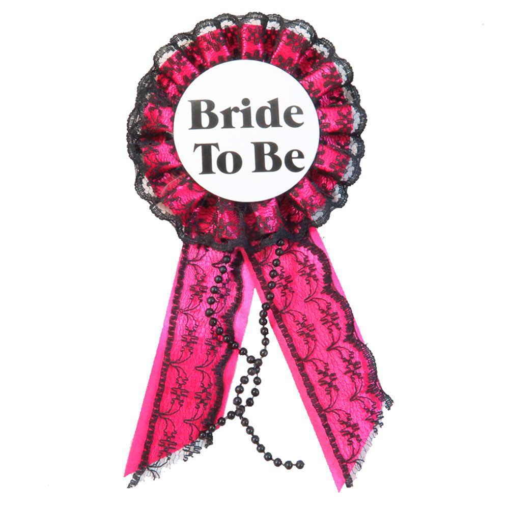 Rosa laço fita crachá redondo meninas noite fora broche mãe para ser botão feliz aniversário princesa pino para festa de solteira evento