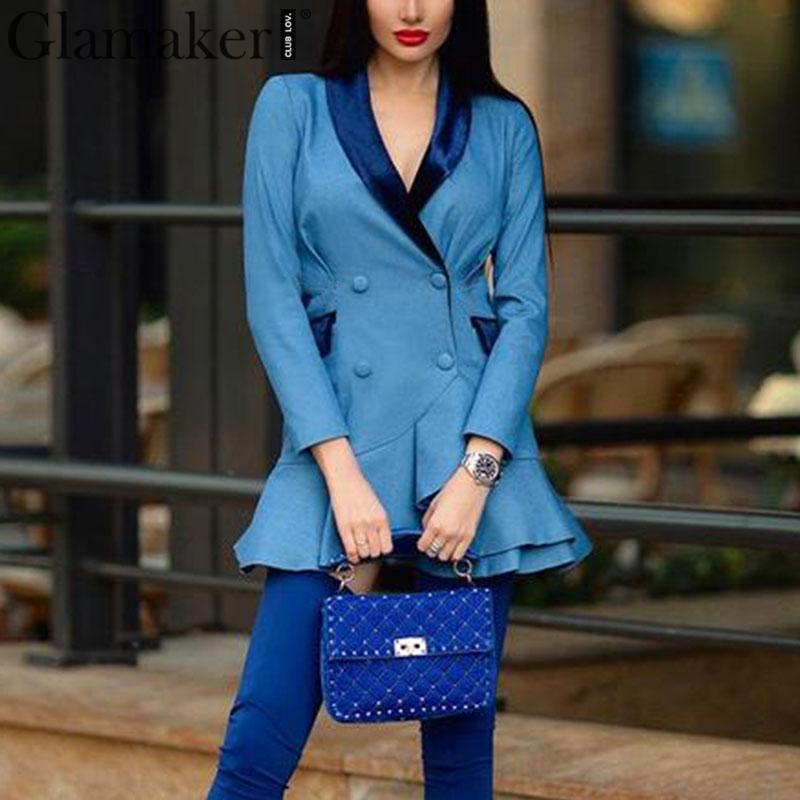 Glamaker Autumn Vintage Blazer Dress Women Patchwork Satin Royal Blue Winter Sexy Dress Retro Ruffle Short Party Dress Vestidos