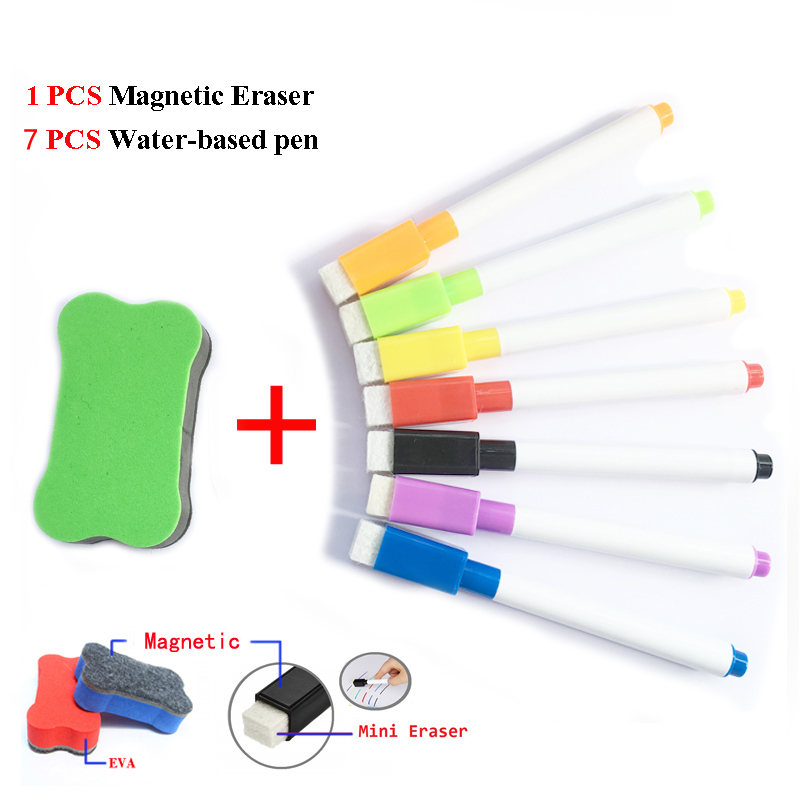7 Pcs Whiteboard Marker Pens 1pcs Dry Eraser School White Board Water-based Pen Water Color Magnetic Pen Stationery