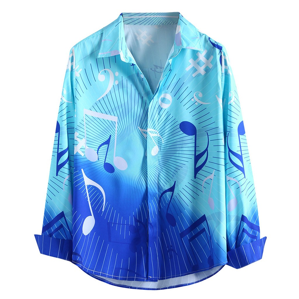 JAYCOSIN Camisa Masculina Männer Ethnische Stil Hawaiian Gradienten Musik Schlank Blau Langarm-shirt Bluse Tops Shirt 19August28