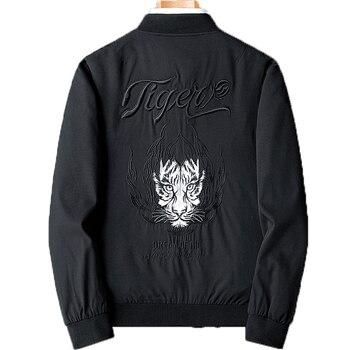 Black Embroidered Coats Baseball Suit Men's Jackets Loose Handsome Fat Coat Men's Street Bomber Vintage Young Clothes GG50jk