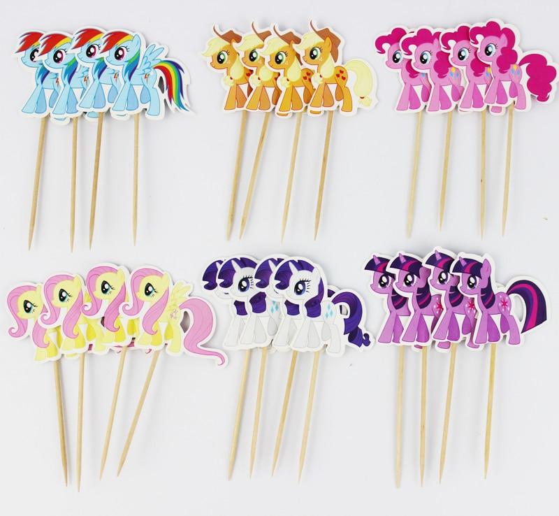 24 Pçs/lote My little pony Topper Picaretas Do Queque Aniversário Decorações da Festa de Casamento Favores Do Partido Decoração Do Partido Dos Miúdos|Materiais p/ decoração de bolo|   -