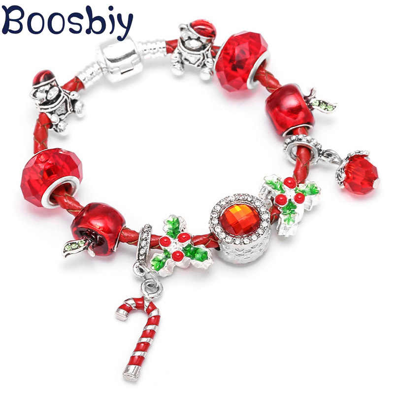 Boosbiy Dropshipping Red Leather Charm Bracelet With Seld Dangle Charms Brand Bracelet For Women Diy Christmas Gift