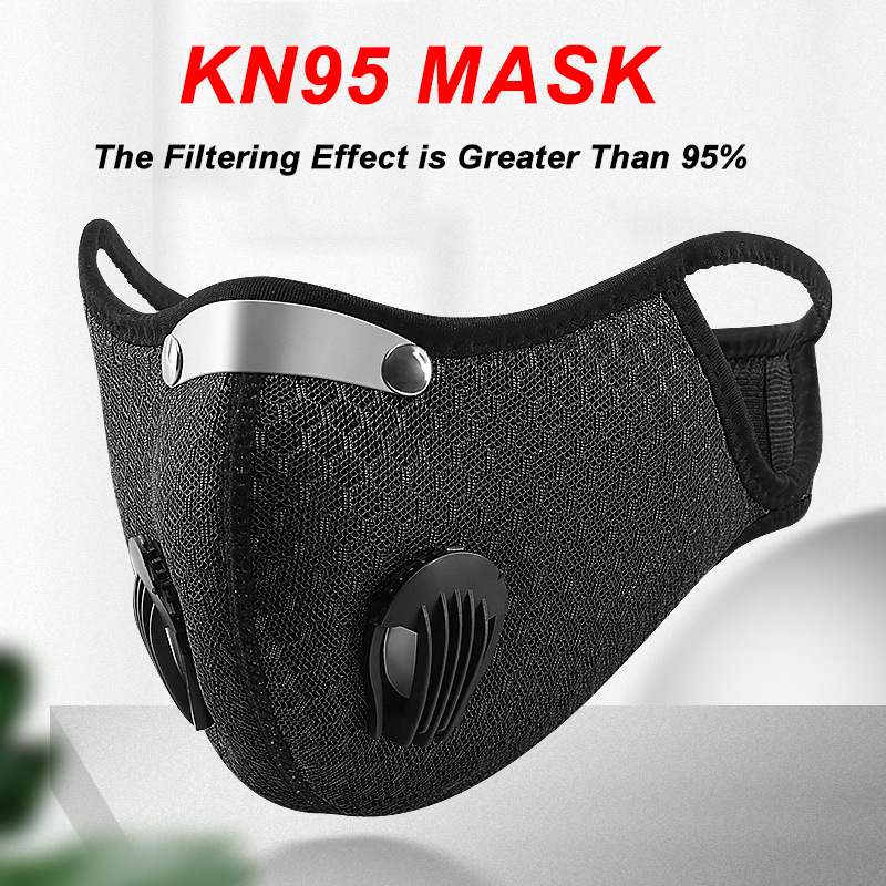 Anti-Dust Cycling Face Mask Anti-Pollution KN95 Filter With Valve PM2.5 Activated Carbon Bicycle Protective MTB Bike Mask