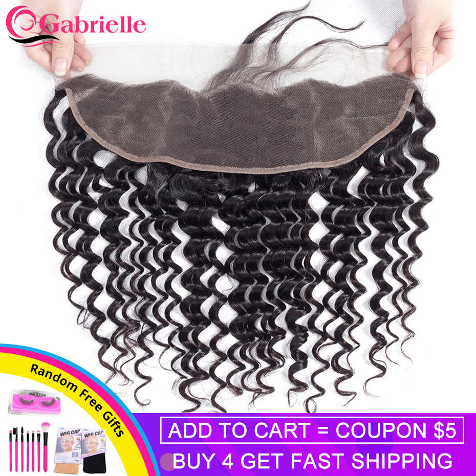 Gabrielle 13x4 Lace Frontal Closure Brazilian Deep Wave Natural Color Remy Human Hair Frontal Pre-plucked with Baby Hair