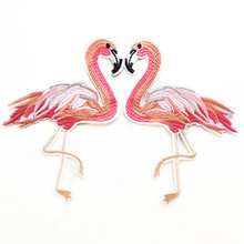 Flamingo patch for Clothing Embroidered Patches Clothes Cute Sew On Fabric Badge DIY Stickers velcro patch 3d tactical morale slogans army military badge labels embroidered stickers stick on for hats backpack clothes patch