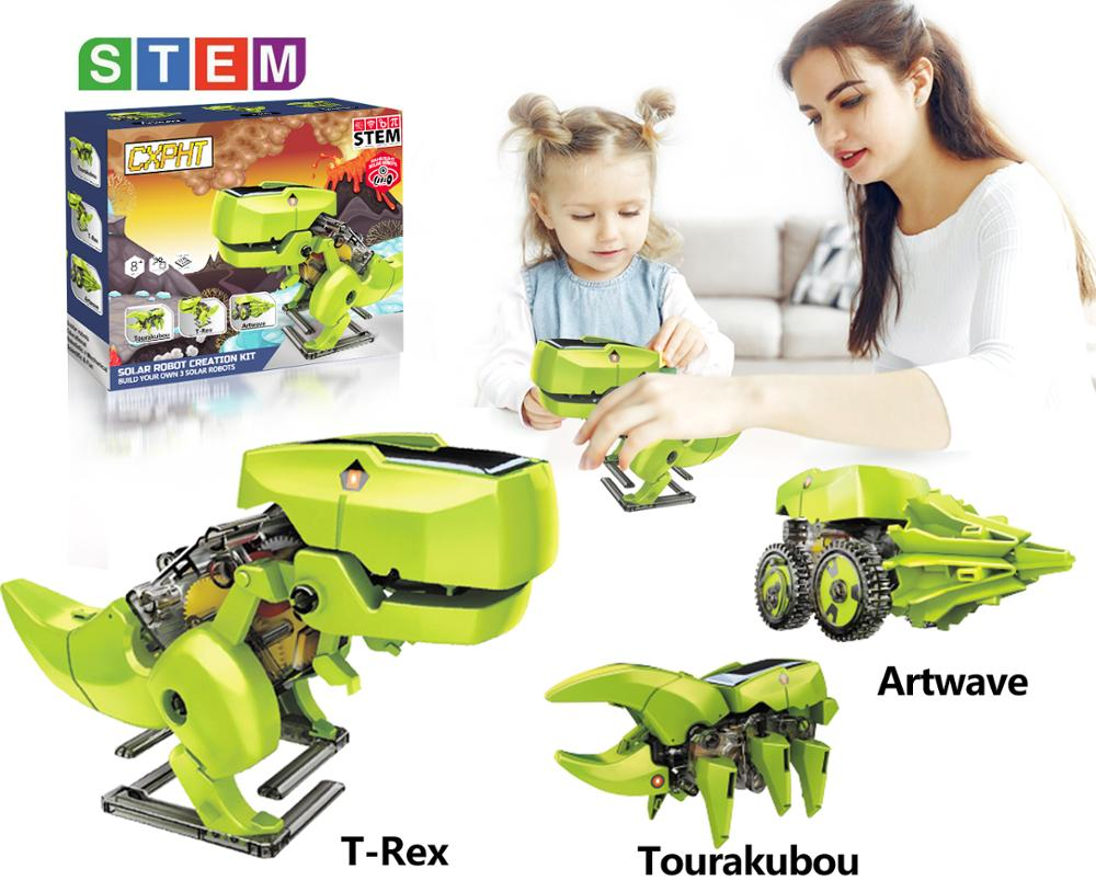 ASPPOPO STEM Educational Toys, energia Solar Robot 3 in 1 DIY Dinosaurs Science Kits for Kids Gifts