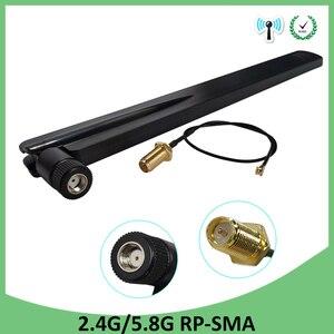 Image 1 - 5 pièces 2.4GHz 5GHz 5.8Ghz antenne 8dBi connecteur de RP SMA double bande 2.4G 5G 5.8G wifi antenne SMA femelle + 21cm câble Pigtal