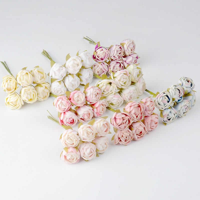 6 pièces soie thé Rose bourgeon fait main artificielle fleur Bouquet mariage décoration bricolage couronne cadeau Scrapbooking artisanat fausse fleur