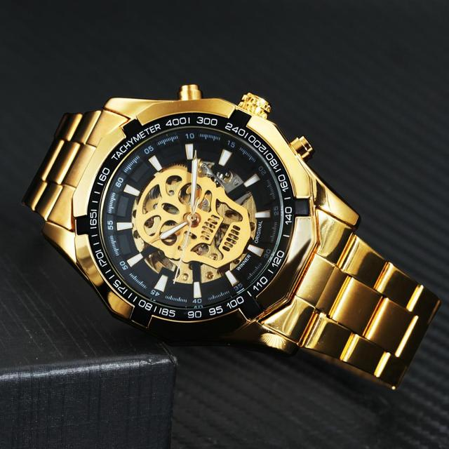 Vencedor oficial ouro relógio automático men cinta de aço esqueleto crânio mecânico relógios marca superior luxo dropshipping atacado 4