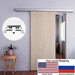 6.6 PÉS de liga de Alumínio escovado interior de madeira do celeiro ferragem da porta deslizante faixa escondida com Tampa Decorativa