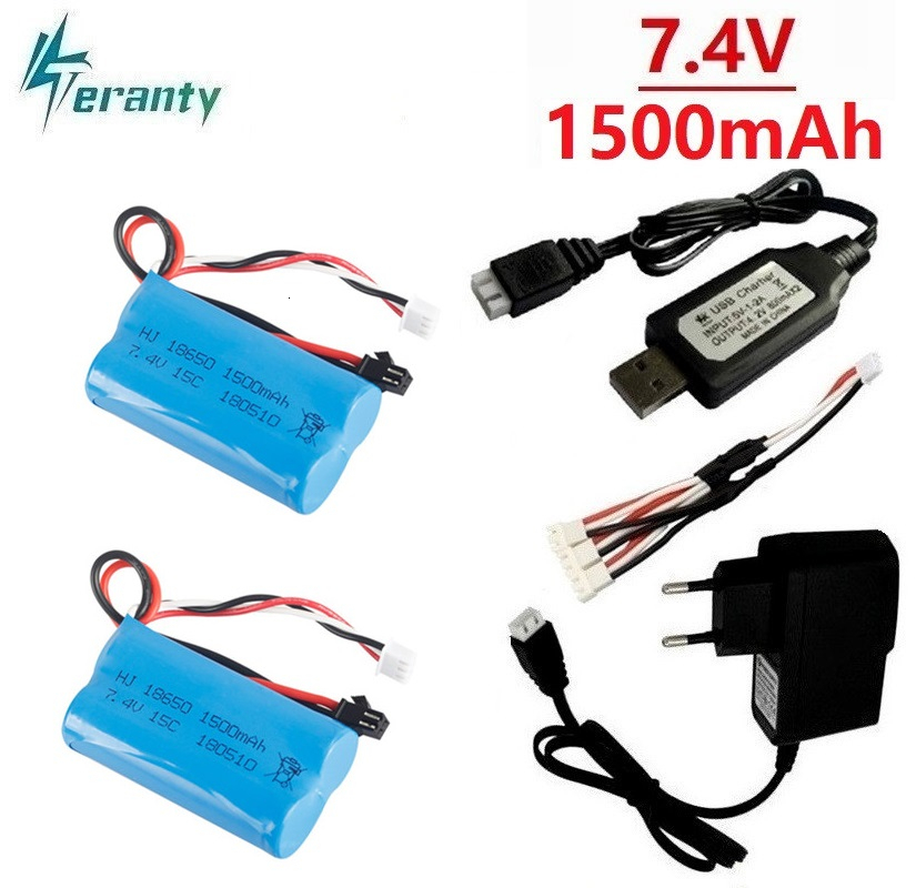 (SM Plug) <font><b>7.4V</b></font> <font><b>1500mAh</b></font> <font><b>Battery</b></font> + <font><b>Charger</b></font> for YDI U12A Syma S033g Q1 TK H101 18650 <font><b>7.4V</b></font> lipo <font><b>Battery</b></font> Rc Toys Boat Car Drone Parts image