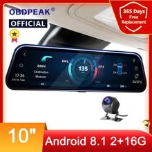 4G Автомобильный видеорегистратор 10 дюймов Android 8,1 потоковое зеркало заднего вида FHD 1080P ADAS видеорегистратор камера видеорегистратор авто ре...