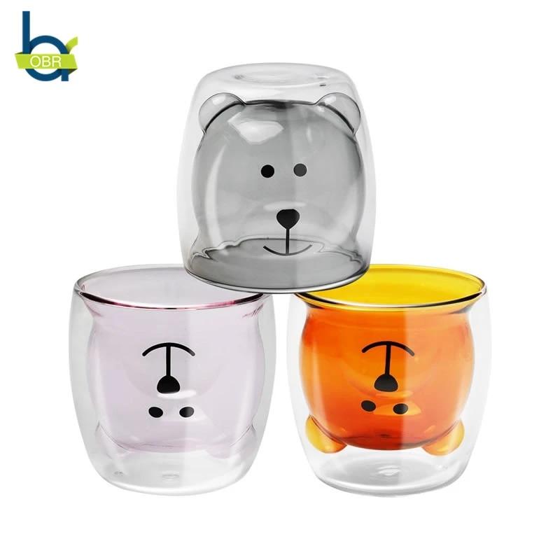 Obr 270ml Creative Double Wall Glass Mug Cute Cartoon Bear Coffee Mug Beer Mugs For Tea Drinking Glasses Tumbler Shot Glasses Mugs Aliexpress