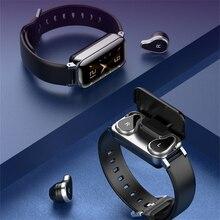 2in1 Smart Watch with Bluetooth 5.0 TWS Earphones Earbuds Fitness Bracelet Wireless Headset
