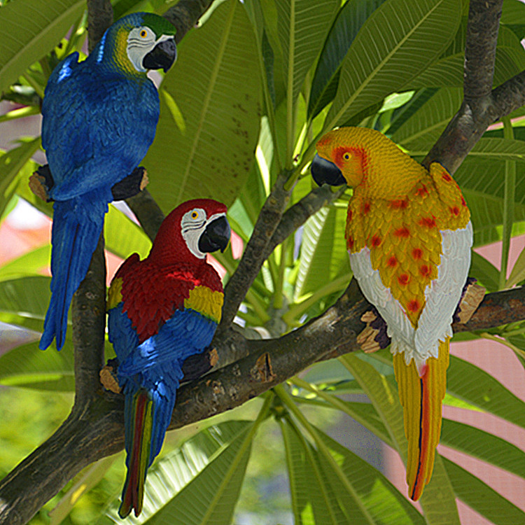Resin Parrot Statue Wall Mounted DIY Outdoor Garden Tree Decoration Animal Sculpture For Home Office Garden Decor Ornament