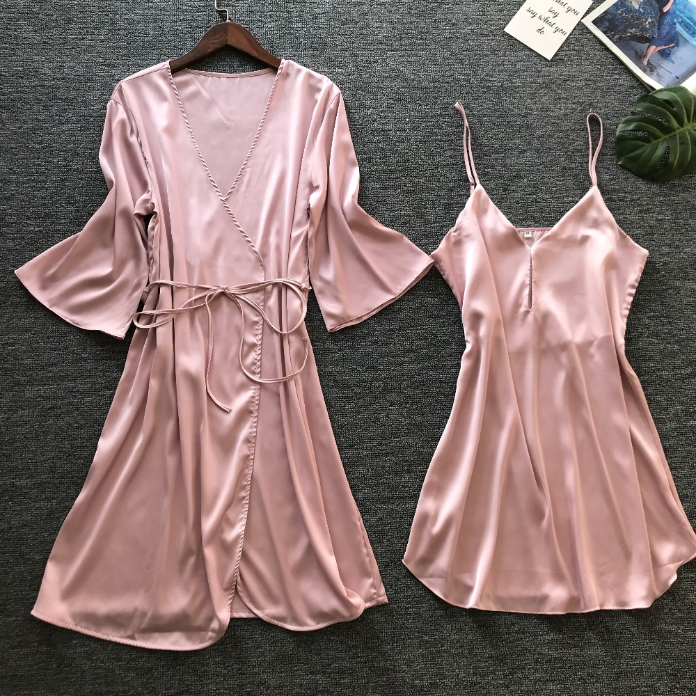 QWEEK Women Robe Sets 2 Pieces Sets Spring 2019 Sleepwear Robe Female Sexy Ladies Nightwear Home Clothes Casual Nightdress