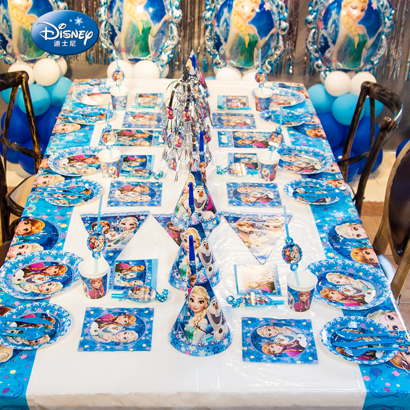 Elsa and Anna Princess Snow Queen Theme Happy Birthday Party Decorations Kids Girl Party Supplies Decoration Tableware Set(China)