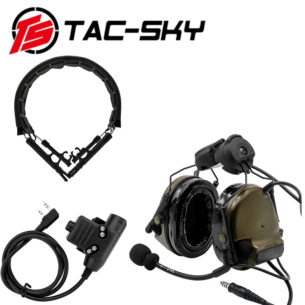 TAC-SKY COMTAC III Helmet Bracket Silicone Earmuffs Headset With PTT U94 PTT And Tactical Headset Replacement Headband Headband