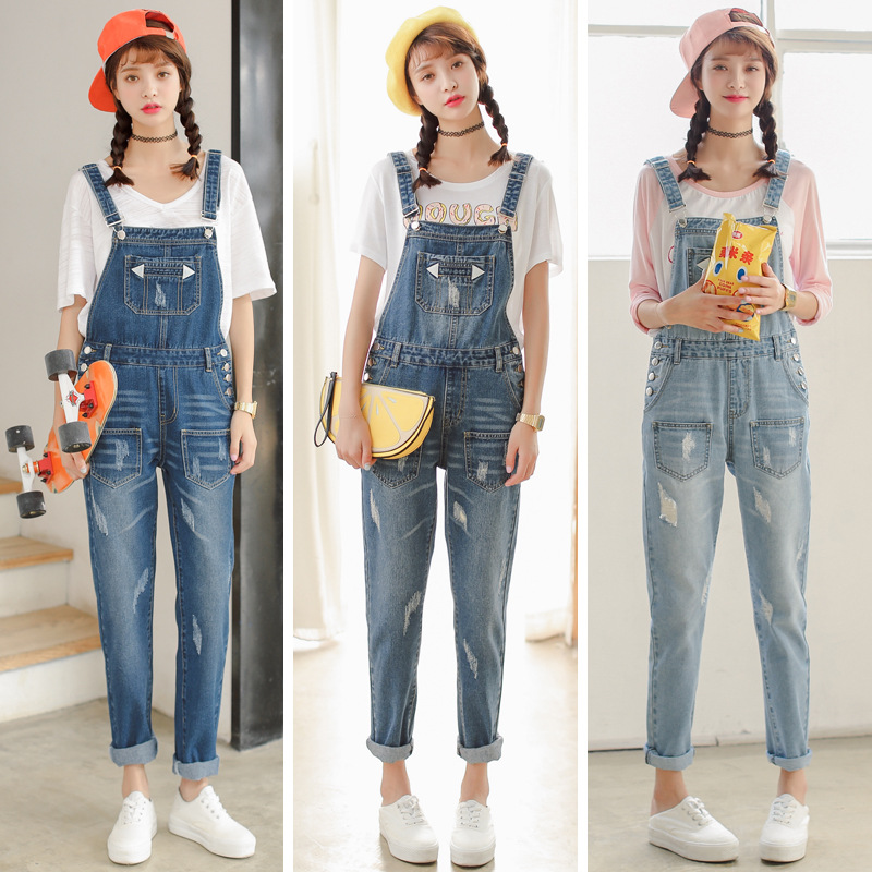 2016 Supermodel Photo Shoot Spring And Autumn New Style Cowboy Suspender Pants Women's Korean-style College Style Large Size One