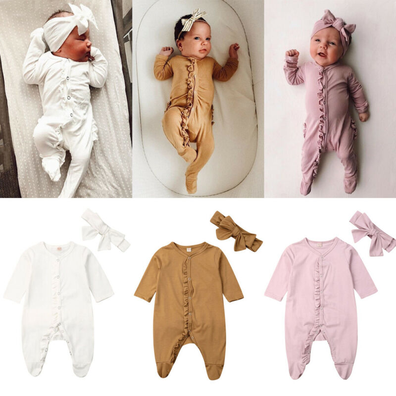 0-12M Newborn Baby Boy Girl Long Sleeve Ruffles Solid Color Cotton Footies Headband 2PCS Sleepwear Baby Clothes