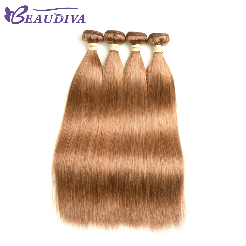 BEAUDIVA  Straight  1/3Bundles Middle Brown 4 27 30 Color  3 Bundles Hair  s 4