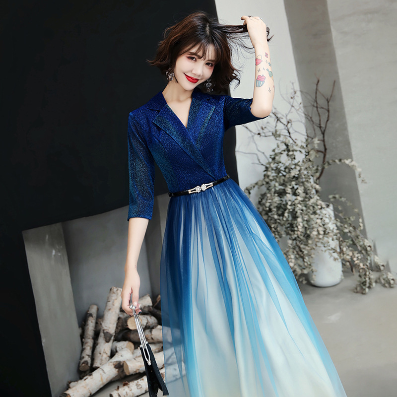 2020 Direct Selling Top Fashion Sapphire Small Evening Dress Female Party Temperament Socialite Gradient Host Dinner Long