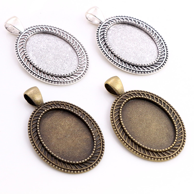 10pcs 18x25mm Inner Size Antique Silver Bronze Plated Vintage Style Cameo Cabochon Base Setting Pendant Necklace Findings