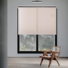 BERISSA Cordless Roller Blinds Light Filtering,5% Openness,UV Protection Energy Saving for Patio Porch,Living Room,Hotel,Office