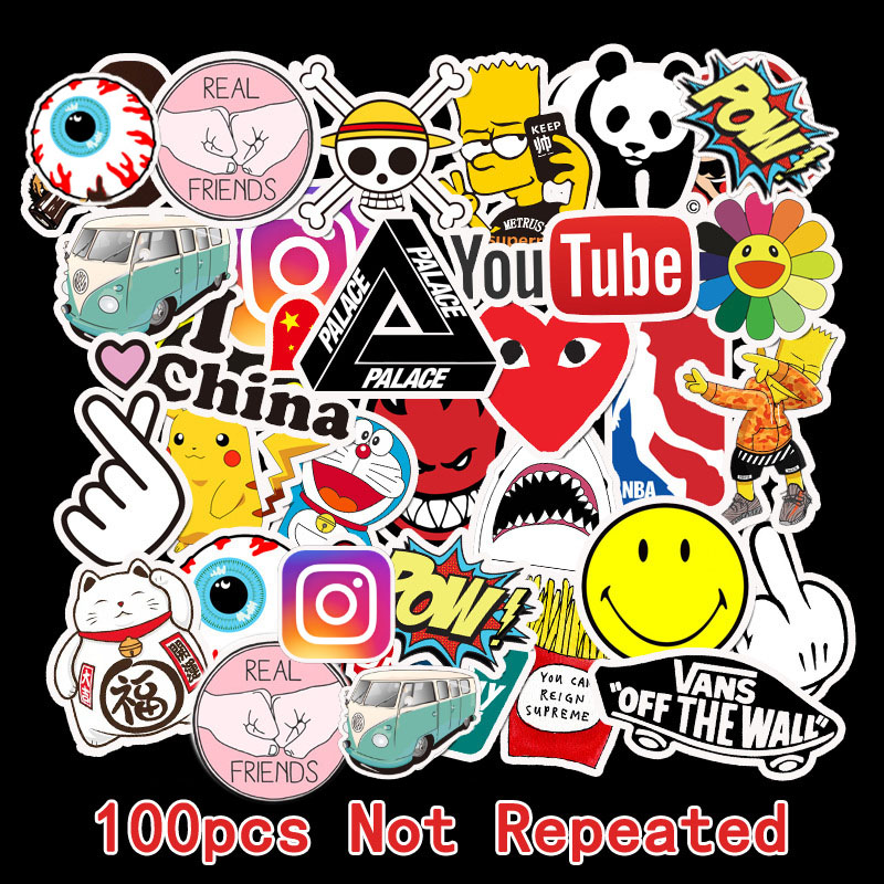 100Pcs Tide Brand Sticker Doodle Tide Brand Luggage Sticker Waterproof Travel Case Laptop Guitar Skateboard Battery Car Sticker