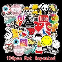 100Pcs Tide brand Sticker Doodle Tide Brand Luggage Sticker Waterproof Travel Case Laptop Guitar Skateboard Battery Car Sticker