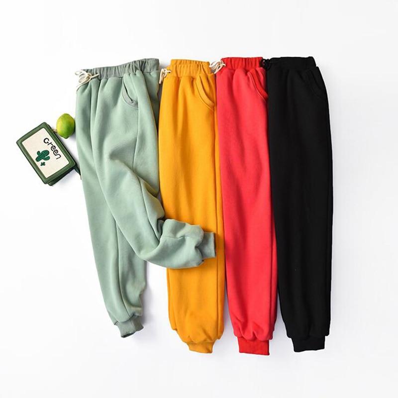 Pantalones de cachemira de talla grande para mujer, pantalón de chándal holgado, informal, con cintura elástica, para invierno, 2020