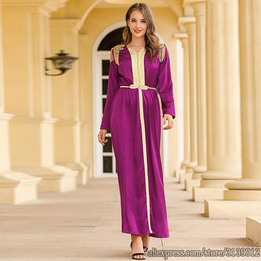 Purple Vestidos Muslim Fashion Dress Abaya Turkey Islam African Dresses Abayas For Women Caftan Kaftan Morocco