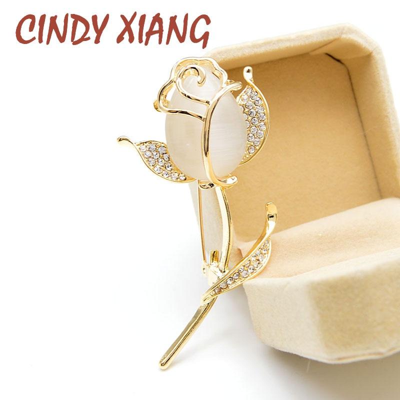 Broches de flor rosas de ópalo CINDY XIANG para mujer, broche elegante de tulipán a la moda con diamantes de imitación, joyería de alta calidad