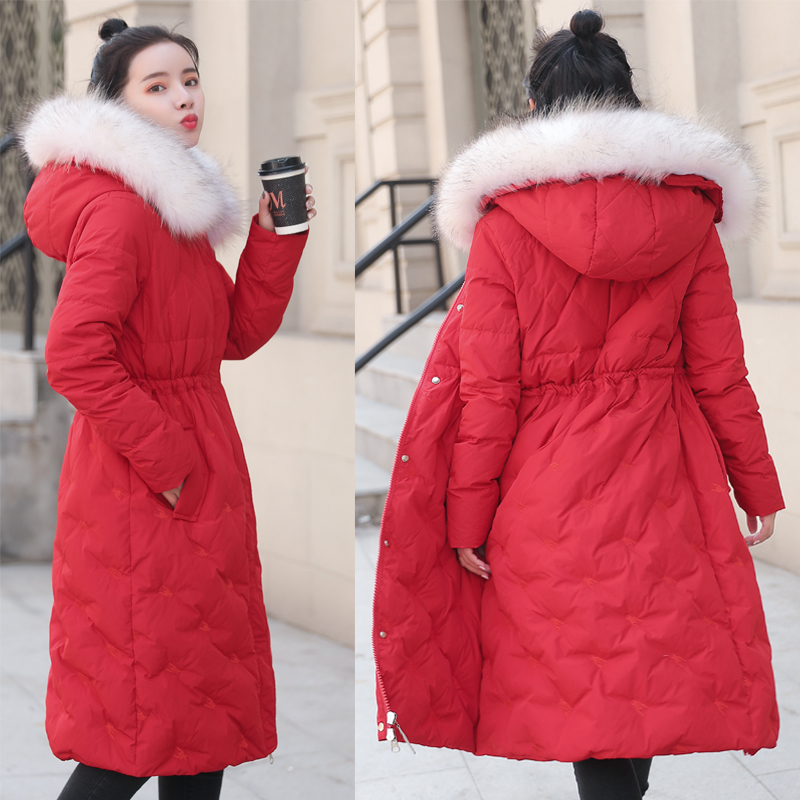 2020 Women's Down Jacket Woman Hooded Long Winter Coat Women Real Fur Collar Womens Jackets Doudoune Femme KJ1052